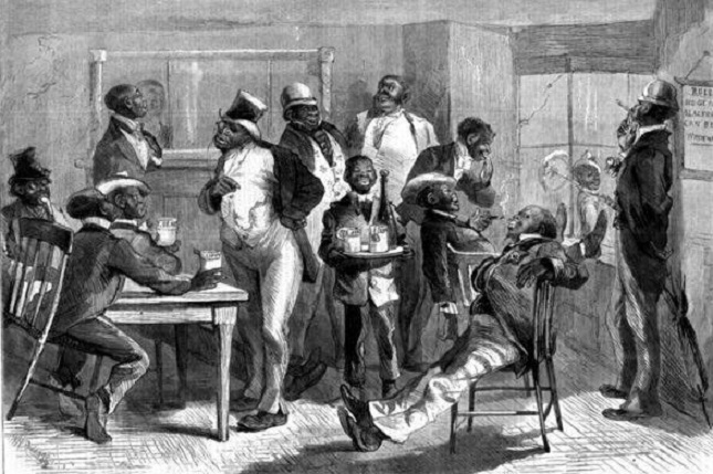 African American men relaxing in a night club_jpg