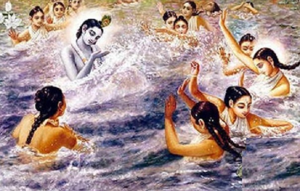 Radharani-and-Her-gopi-friends-attack-and-are-attacked-in-turn-by-Sri-Krishna