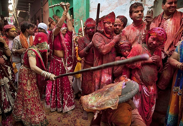 hindu-mythology-says-krishna-teased-radha-and-her-friends-who-chased-him-out-of-their-village-now-residents-of-barsana-re-enact-the-scene-with-sticks-and-shields