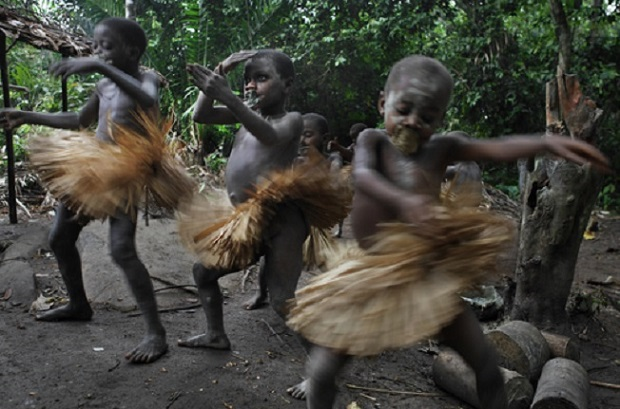 Mbuti boys wear grass skirts during their circumcision ceremony.